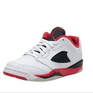 JORDAN Kids Retro 5 Low Sneaker Fire Red, Size 2Y